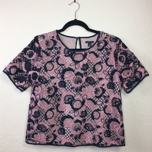 Ann Taylor Floral cut out Cropped Blouse